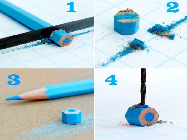 Нужно нарезать карандаши на отрезки равной величины. В каждом нужно сделать отверстие.