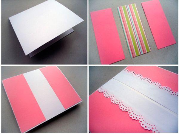Сверху на розовую бумагу приклеиваем ажурный край, сделанный дыроколом. Теперь берем прямоугольник цветной бумаги и приклеиваем на основу.