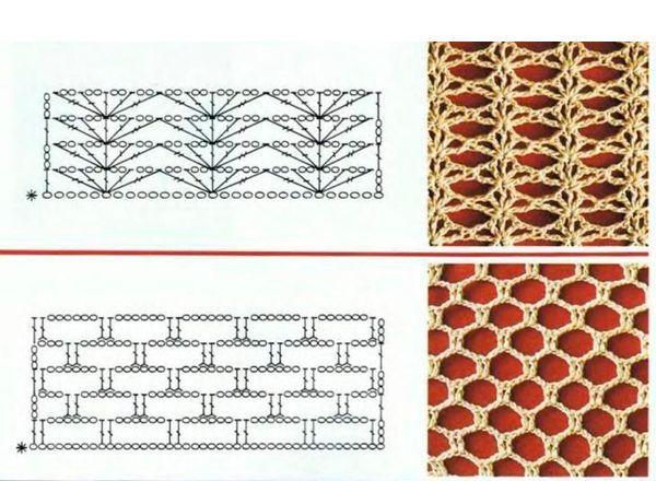Ажурные узоры крючком, схемы