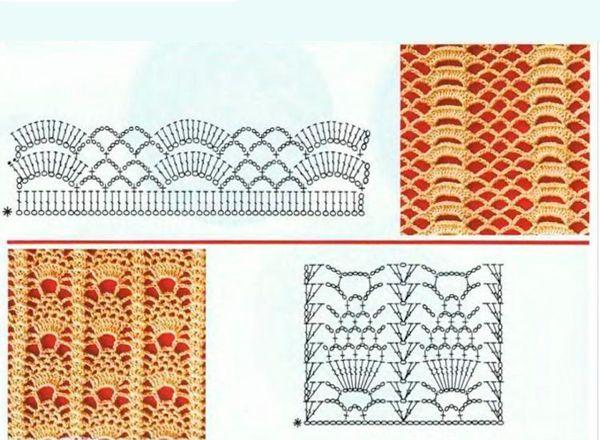 ажурные узоры крючком схемы салфетки