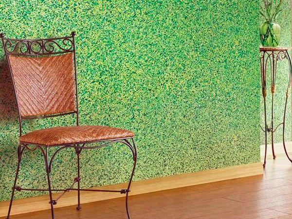 15. Флок или, как его еще называют в простонародье, чипсы — являются необычным вариантом декоративного покрытия для внутренней отделки помещения. В состав материала входят цветные частички на основе акриловой краски, по форме действительно напоминающие хлопья или чипсы.