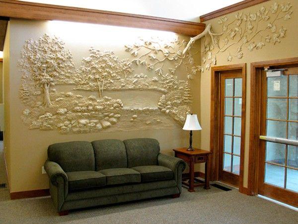 8. Трехмерная отделка стен гипсом смотрится потрясающе! Недостатков у нее нет, сплошь одни достоинства!