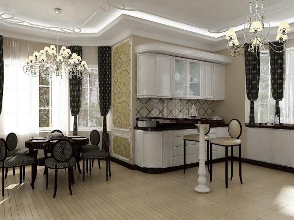 Гостиная, совмещенная с кухней