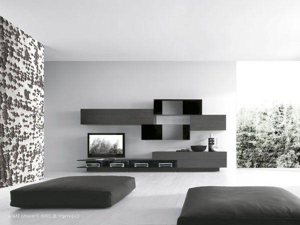 Интерьер черно-белой гостиной