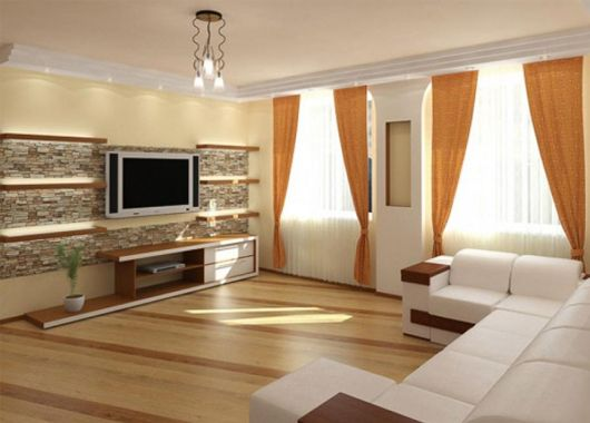 Гипсовая плитка в гостиной
