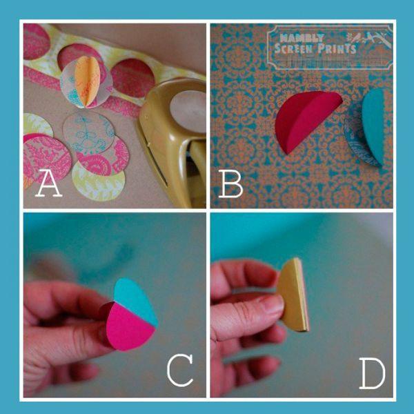 Для начала необходимо из цветной бумаги вырезать круги одинакового диаметра и согнуть каждый из них пополам. Необходимо склеить их между собой так, как показано на этом фото.