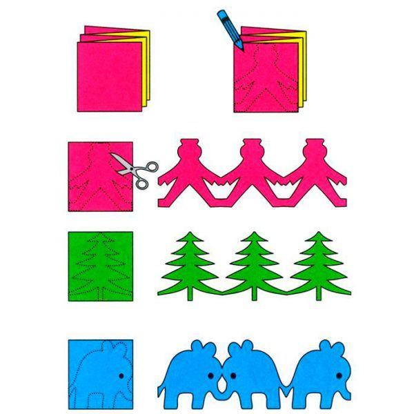 Чтобы сделать гирлянду в виде фигурок, нужно сложить лист бумаги гармошкой. Нарисовать контур. При вырезании не затрагивать боковую часть рисунка. При раскладывании гармошки получится симпатичная новогодняя гирлянда.