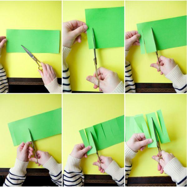 Для изготовления такой гирлянды вам понадобится цветная бумага, ножницы и клей (или степлер, или скотч). Если резать будет ребенок, лучше сначала нанести линии разреза карандашом.