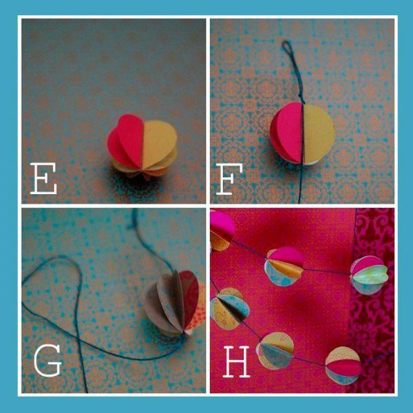 Для того чтобы сделать шар, вам понадобится 4-6 бумажных кружка.В середину каждого шара необходимо вклеить нить.