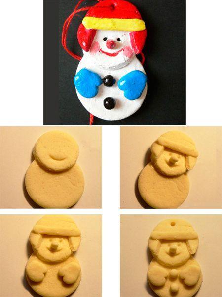 Веселого снеговика сделать легко. Вырежьте рюмкой два одинаковых круга. Сложите их вахлест. Сделайте шапку и лицо. Запеките и раскрасьте.