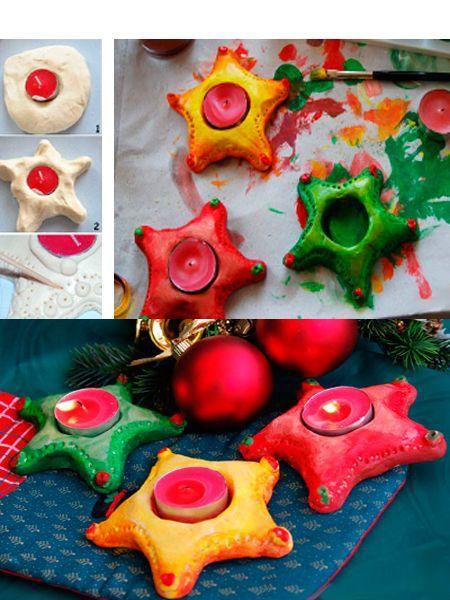 Такому подсвечнику всегда найдется место в новогоднюю ночь. Отверстия для свечей делайте немного шире. Во время сушки тесто может слегка расплыться.