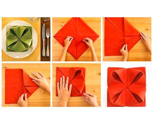 При сервировке стола салфетки обычно складывают в различные фигуры. Для этого их необходимо накрахмалить, чтобы хорошо держалась форма, которую придали салфетке.