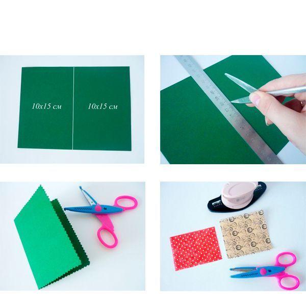 Берём картон зелёного цвета размером в 20х15 см. Отмечаем середину на этой заготовке и делим её пополам на два одинаковых прямоугольника с размерами в 10х15 см каждый.