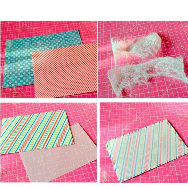 Теперь стоит нарезать несколько маленьких полосочек бумаги из обрезков. Когда они готовы, берем кальку самого малого размера и новогоднюю скрап-бумагу самого малого размера и складываем их вместе. Делаем строчку на швейной машине.