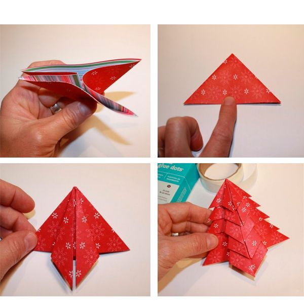 Углы треугольника надо загнуть к центру, как показано на фото. Это получился первый модуль елочки!  Точно также складываем все остальные модули.