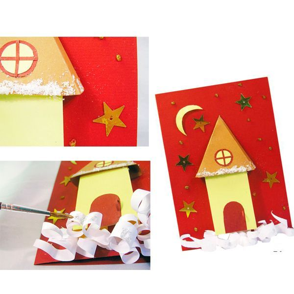 Сделайте снежок. На белой бумаге нарисуйте и потом вырежьте волнистые произвольные полоски, желательно, чтобы кончики у полосок были острые. Подкрутите полоски и приклейте внизу под домиком.