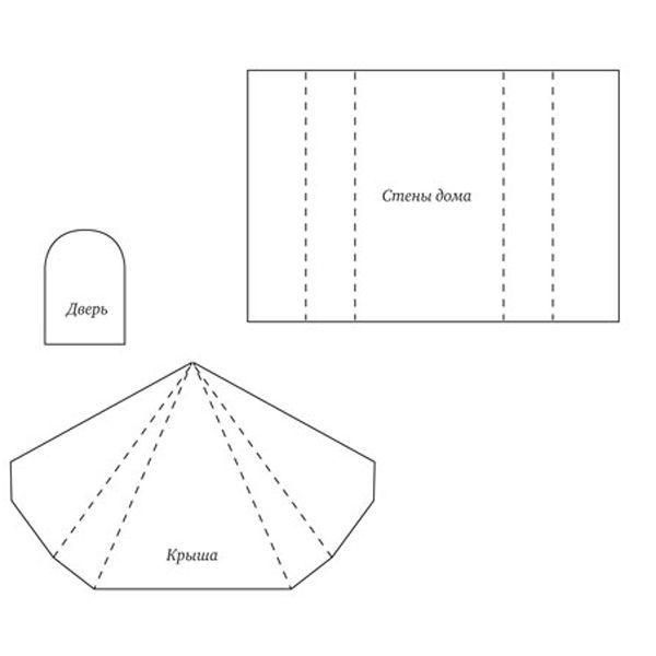 Распечатайте и вырежьте шаблоны, наложите их на бумагу выбранного цвета для домика и крыши. Вырежьте, сделайте сгибы в отмеченных местах.