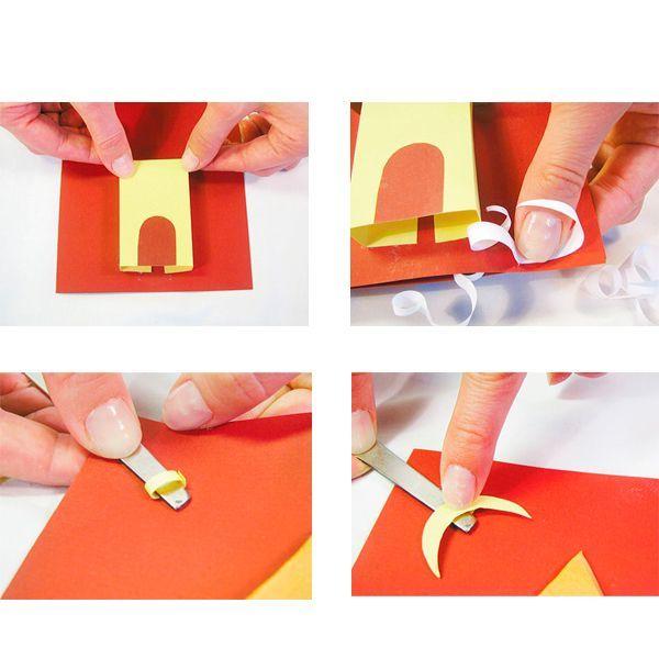 Вырезанную дверь приклейте к стене дома. Стены намажьте клеем по краям (до первого сгиба с каждой стороны) и приклейте к открытке, чтобы внизу осталось место для снежка.