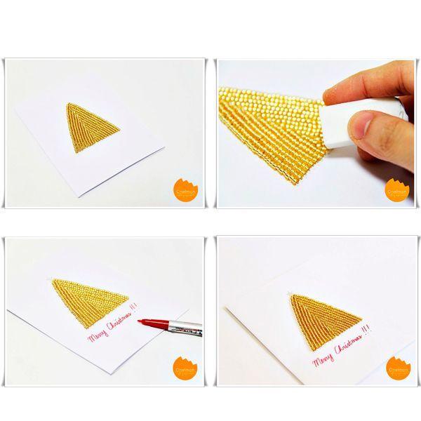 Проделывая отверстия иглой в основе, изобразите бисерную елочку. Впрочем, фигура может быть любой. Можно сделать елочный шарик, снеговика и т.д.
