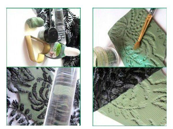 Нам понадобится: полимерная глина (запекаемый пластик fimo), кусочек кружева или другой штамп, формочка в виде сердца или лезвие, декоративная пудра(можно использовать тени для век), витражная краска. Разомните кусочек пластики в лепешку толщиной 3-4мм. И прикатайте к ней кружево при помощи специальной скалки или другого цилиндрического предмета. Отлепите кружево, на пластике должен остаться четкий оттиск.