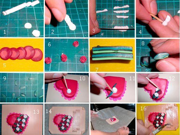 Из тонкой колбаски нарезаем кружочки. Складываем друг на друга с нахлестом. Разрезаем пополам. Накручиваем на зубочистку. Делаем листочки, берем соответствующие цвета и складываем их слоями, срезаем лишнее.