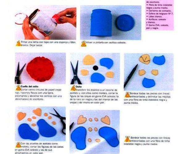 Для начала необходимо покрыть жестяную банку краской. Из плотной ткани выкроить детали носа, ушей, лапок, глаз.