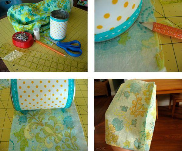 Обведите на ткани донышко банки. Вырежьте с припусками на швы. То же самое проделайте с боковушкой. У нас должно получиться две детали.