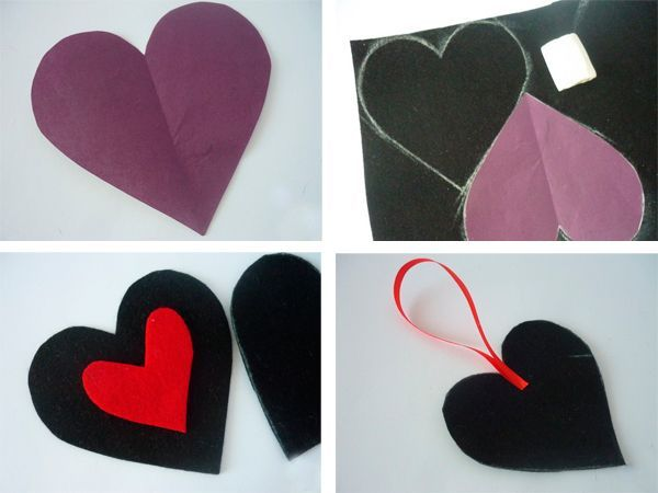 Делаем выкройку сердечка. Обводим ее на черном фетре, вырезаем две детали. Сердце красного цвета делаем поменьше. Делаем петельку из ленты.