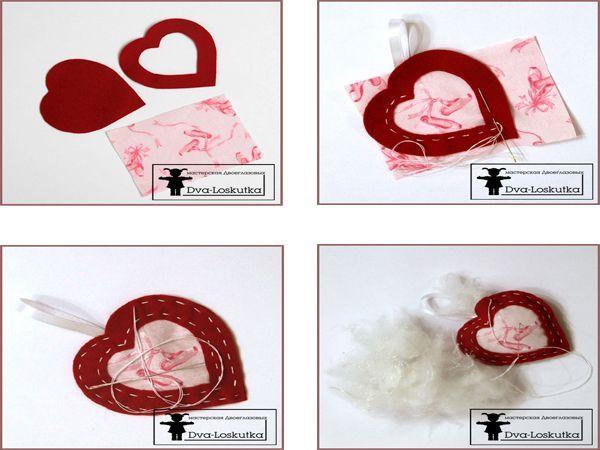 Переведите выкройку на фетр. Вырежьте детали.  Подложите хлопковую ткань и атласная ленточку, сложенную вдвое под сердечко с окошком. Сшейте детали между собой. Материалы с сайтов: http://www.nashgorod.ru, http://www.rukodelnica.su, http://do-crafts.ru, http://marrietta.ru.