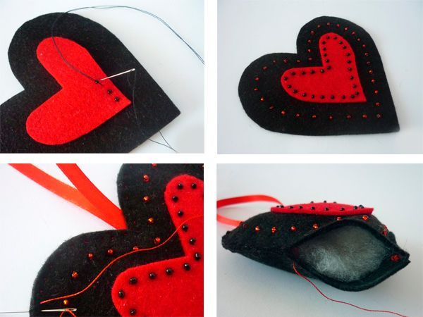Откладываем сердце с петелькой в сторону и начинаем пришивать красное сердце ко второй детали, разместив его по центру. Выводя иглу наверх, нанизываем по одной бисеринке. Стежки выполняем около 0,5 см длиной. Затем просто вышиваем красным бисером теми же нитками вокруг красного сердца, повторяя его форму.