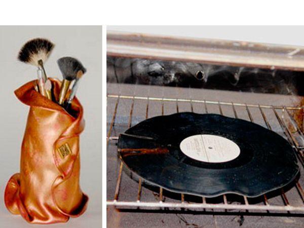 Нам понадобится одна пластинка, стеклянная или жестяная банка, два цвета акриловой краски, супер-клей и пуговица. Нагреем духовку до температуры 120-140 градусов, положим туда пластинку.