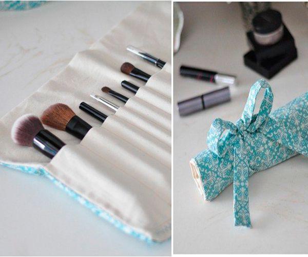 Косметические кисточки важно правильно хранить. Удобнее всего это делать в тряпичном органайзере-косметичке, который легко сшить самостоятельно.