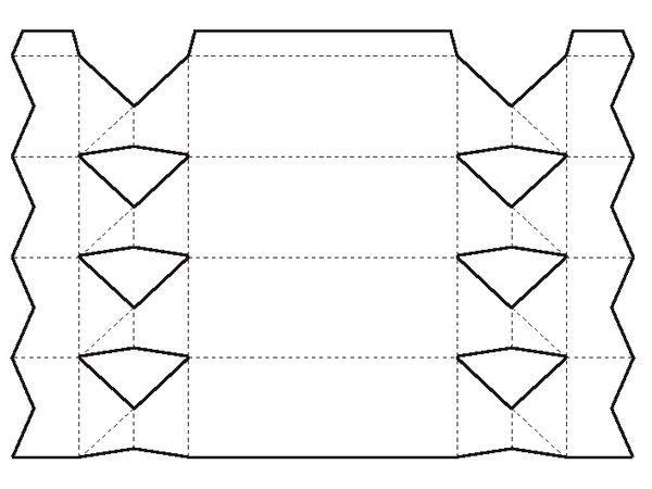 Распечатайте шаблон на цветной бумаге формата А4. Вырежьте макет,  используйте канцелярский нож для ромбов.