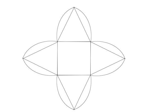 Распечатайте шаблон коробочки на плотной бумаге или картоне, дыроколом проделайте дырочки под вершиной каждого треугольника.