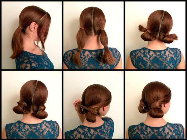 Два хвоста легко превратить в оригинальную прическу. для этого подверните их, а концы волос перекрестите и закрепите.
