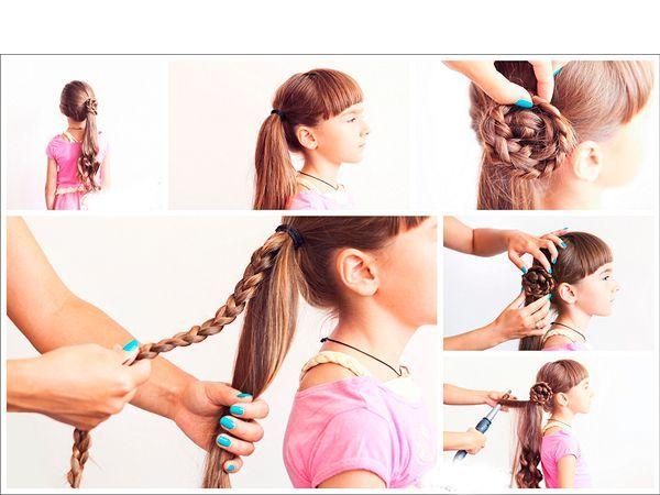 Цветок из косы сделать просто. Сделайте хвост сбоку, из части волос заплетите косу. Придайте ей форму цветка, закрепите невидимками.