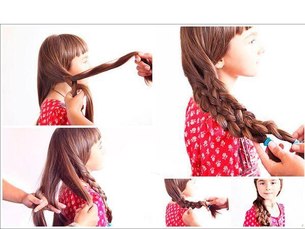 Чтобы сделать такую прическу, из одной части воолс заплетите кому. Переплетите ее с косой из другой части волос.