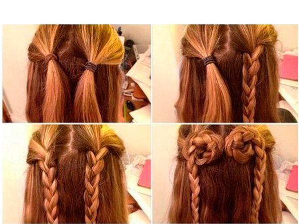 Из верхней части волос сделайте две косы. Уложите их так, чтобы получилось сердечко. Зафиксируйте его шпильками.