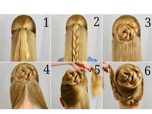 Верхнюю часть волос соберите в хвост, заплетите из него косу. Сделайте из косы гульку. Оберните вокруг нее пряди волос снизу.
