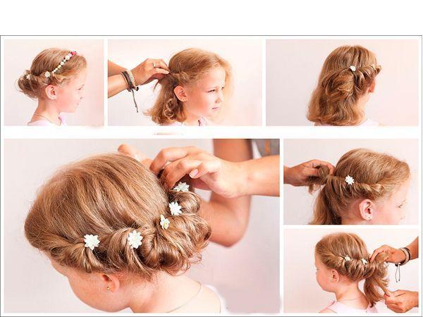 Для такой нарядной прически вам понадобятся шпильки с цветочками. Волосы необходимо скручивать жгутом, закрепляя форму шпильками.