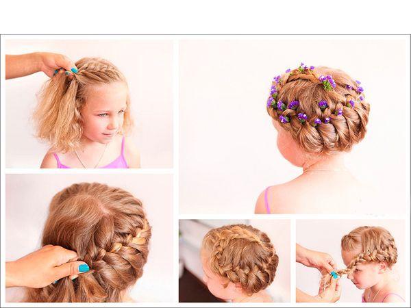 В этой прическе французская коса заплетена по кругу. Конец спрячьте под прядью волос. Украсьте шпильками с цветами.