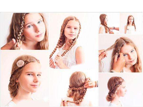 Разделите волосы на центральный пробор. От лба плетите две французские косы. Перекрестите из между собой сзади. Закрепите шпильками.