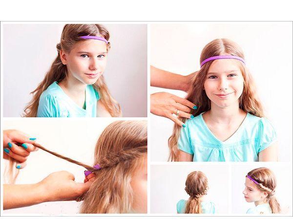Интересную прическу можно сделать с помощью резинки-повязки. Необходимо обкрутить вокруг нее волосы и закрепить их сзади в хвост.