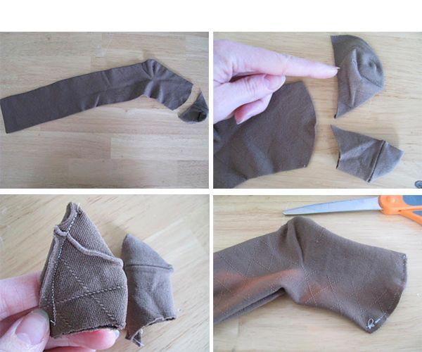 Разрезаем носок так, как показано на фото. Верхнюю часть также необходимо отрезать. Она нам пригодится для пошива хвоста и лапок.