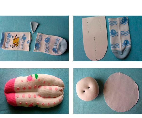 Разрезаем носок так, как показано на картинке. Делаем разметку для ручек и ножек нашей куклы. Набиваем тельце куклы ватой или синтепоном. Делаем голову.