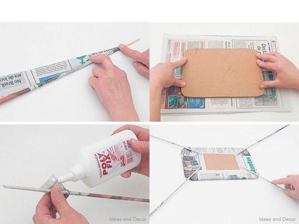 Газетные листы скрутите в трубочки. Их понадобится много. Картонную основу оберните газетным листом, к углам приклейте трубочки.
