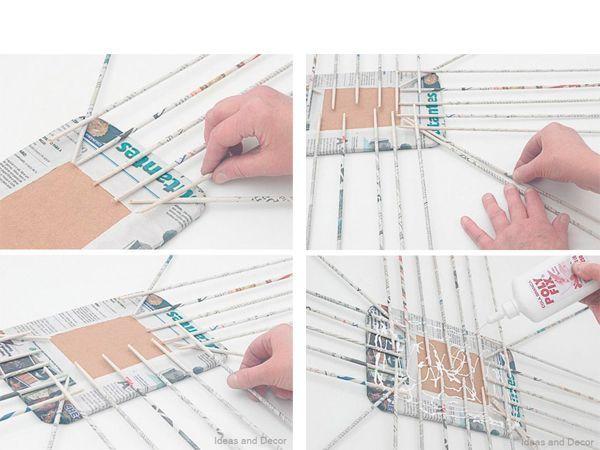 По периметру приклейте трубочки так, как показано на фото. Поверхность картона смажьте клеем, накройте вторым листом картона.