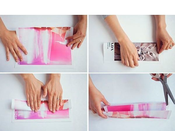 Согните газетный лист вдоль пополам. Затем еще раз пополам. Разрежьте по линиям сгиба.