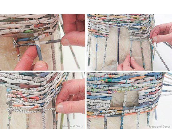 Плетите ряд за рядом, оставляя места для ручек. Последнюю трубочку закрепите между предыдущих рядов.