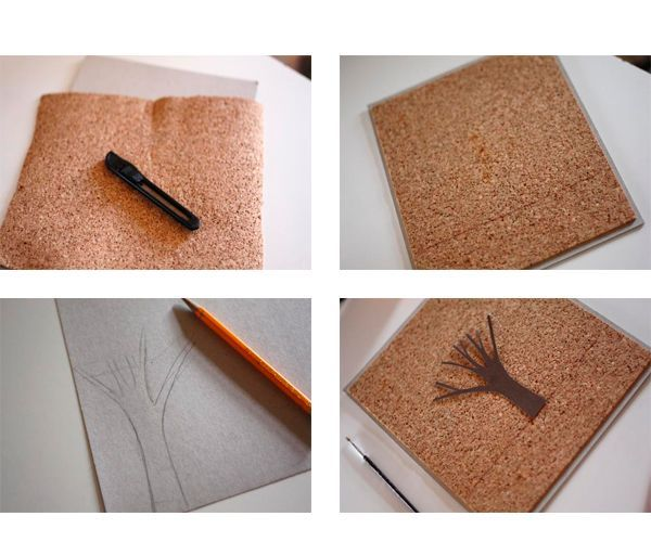 Лист плотного картона и пробковую подложку обрезаем в форме прямоугольника так, чтобы края картона немного выступали. Смазываем подложку универсальным клеем и прикладываем к картону. Рисуем и приклеиваем ствол дерева.